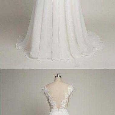 Charming Prom Dress,White Chiffon P..