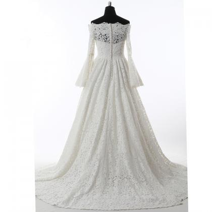 Long Wedding Dress, A-Line Lace Wed..