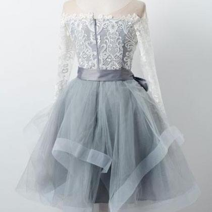 GRAY ROUND NECK TULLE LACE SHORT PR..
