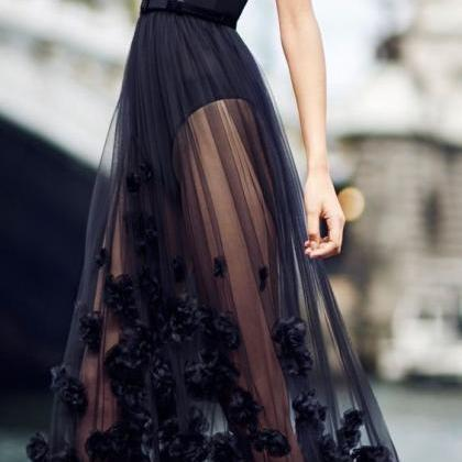A Line Black Prom Dress,Cheap Even..