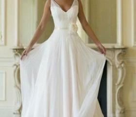 V Neck Weeding Dress..