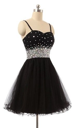 a93ba3e5909 Hot Sales Crystals Rhinestones Spaghetti Straps Black Homecoming Dresses