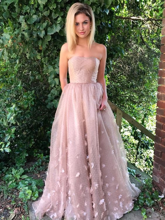 A-Line Strapless Blush Lace Evening Prom
