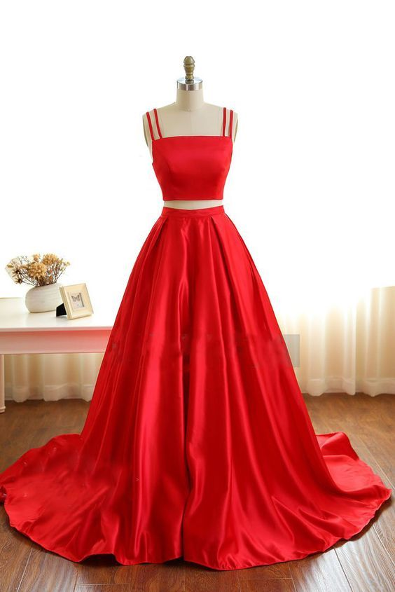 e5eefe40c068 Red Prom Dress Two Pieces, Prom Dresses For Teens,Graduation Party Dresses,  Sweet