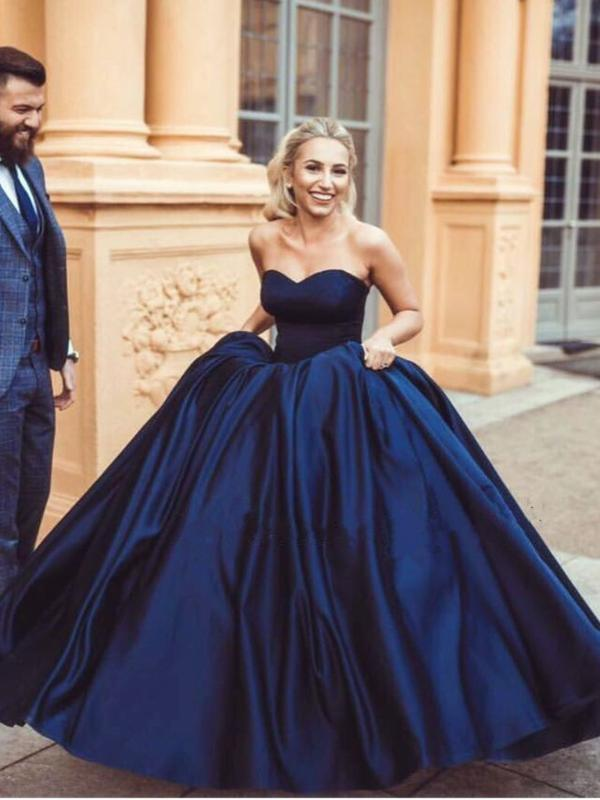 7357e2caf Ball Gown Prom Dresses Sweetheart Burgundy Dark Navy Long Chic Prom Dress/Evening  Dress