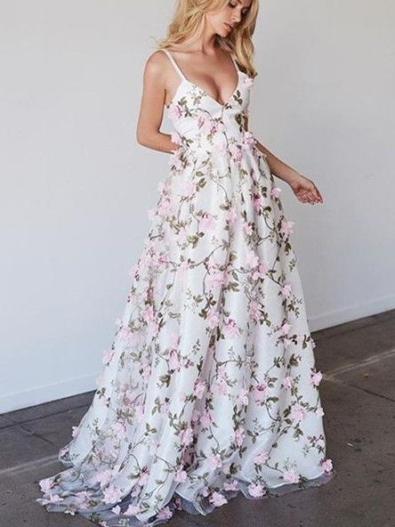 bbac9b61e9071 Beautiful Prom Dresses Spaghetti Straps Floral Lace Long Prom Dress Evening  Dress