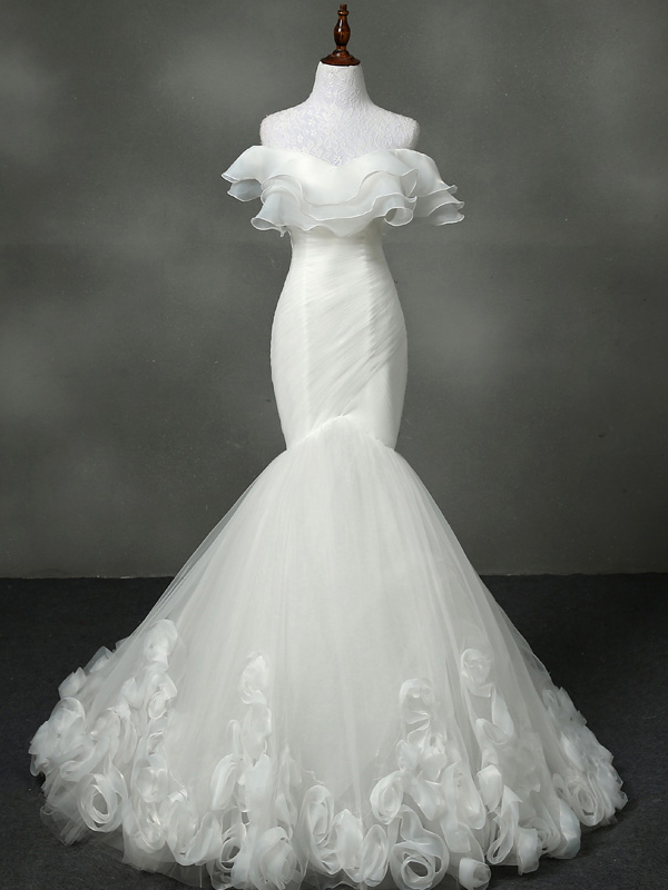 Off Shoulder Tulle Flounce Mermaid Wedding Dress