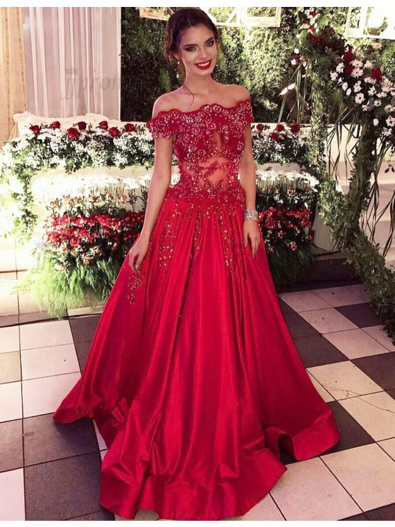 6fc81042d20 A-Line Off-the-Shoulder Sweep Train Red Satin Prom Dress with Beading Lace