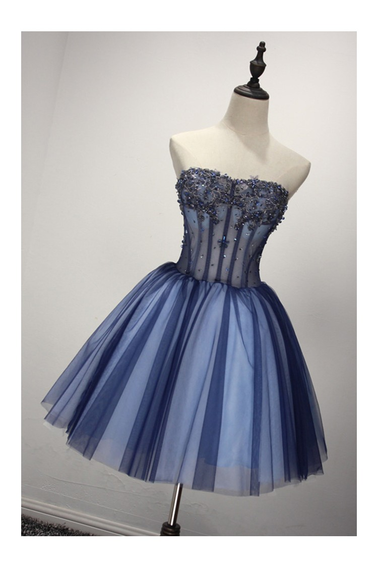Short Sparkly Blue Formal Dress For 8th Grade