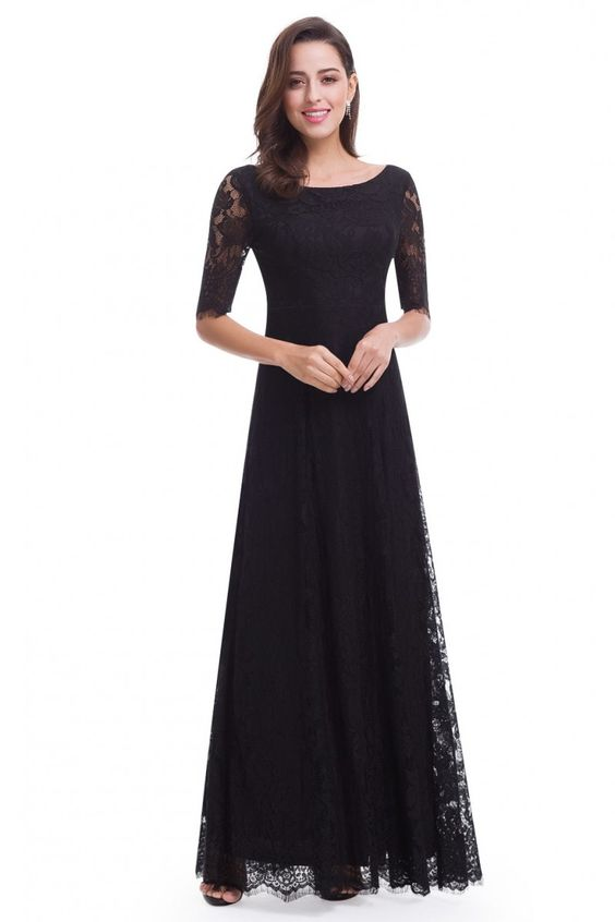 Elegant Lace Half Sleeve Long Black Evening Party Dress On Luulla