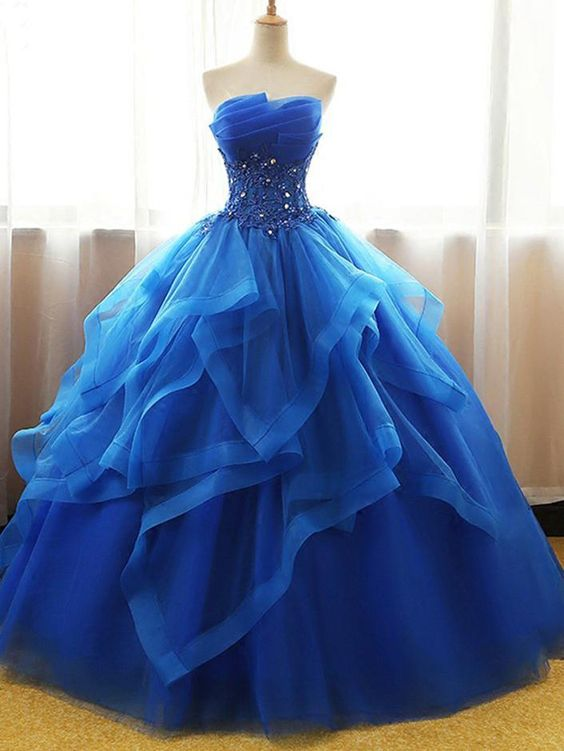 Ball Gown Wedding Dresses Strapless Floor Length Royal Blue Bridal Gown