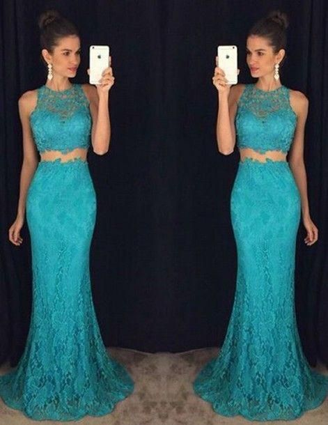 turquoise prom dress, long prom dress, two pieces prom dress, lace evening dress, mermaid prom dress
