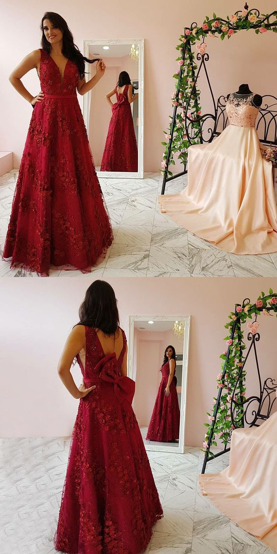 A-Line Deep V-Neck Long Prom/Evening Dress Red prom dress