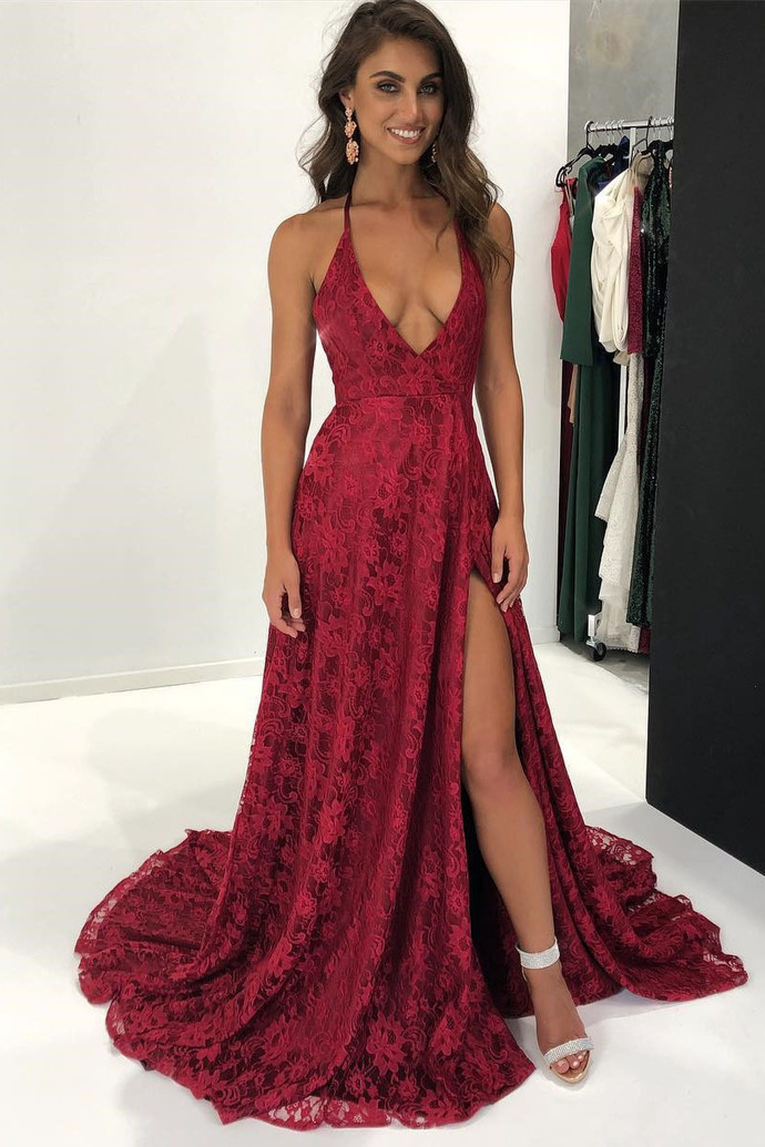 fascino dei costi qualità Sneakers 2018 Sexy Spaghetti Straps A-Line Red Prom Dresses,Cheap Prom Dress,Graduation  Dress,Evening Dress,Formal Dress,Lace Prom Dresses,V-Neck Prom Dress