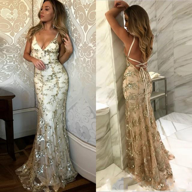 977d8d930a4a Spaghetti straps yellow lace sequin sparkly mermaid sexy most popular  newest unique prom dresses