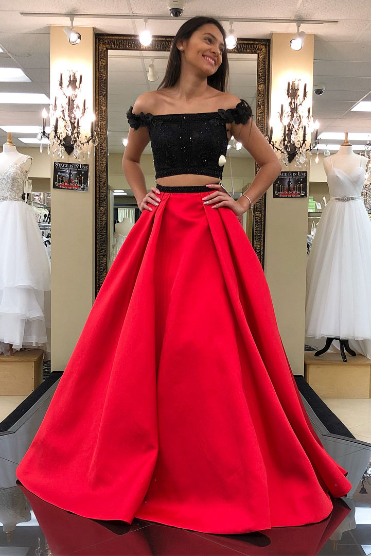 4e5e1414c95 Priness Two Piece Black And Red Long Prom Dress on Luulla