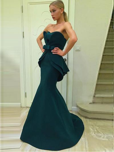 e5ee322a4b Trumpet Mermaid Sweetheart Sweep Train Jersey Open Back Prom Dresses ...