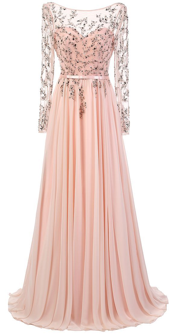 f325a2da8c483 Blush Pink Long Sleeves Floor-length Chiffon Dress Prom Dress, Evening Gown,  Homecoming Dress, Long prom dress, Backless Prom Dresses, Custom Made,Party  ...