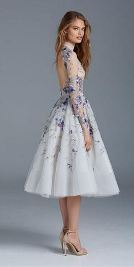 Prom Dresses Long Sleeves Flower Embroidery Tea Length Party Evening