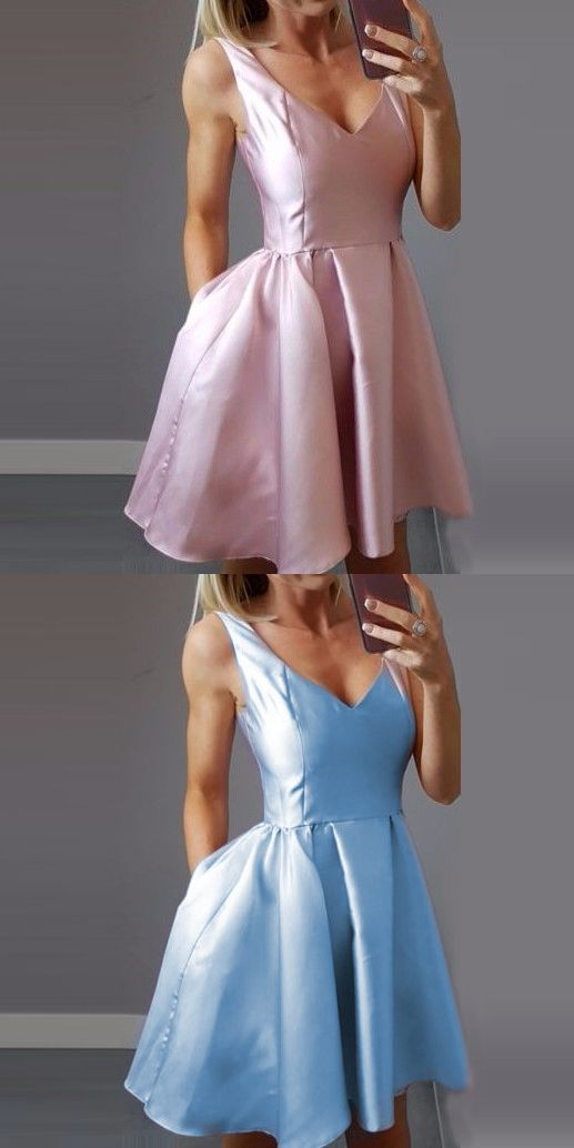 V Neck Short Homecoming Dresses Pink Satin Short Homecoming Dresses