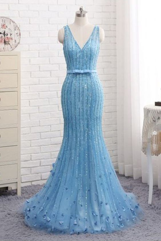 Spring fresh blue tulle V neck prom dress,long mermaid evening dress with bow-knot, long sequins line prom dress