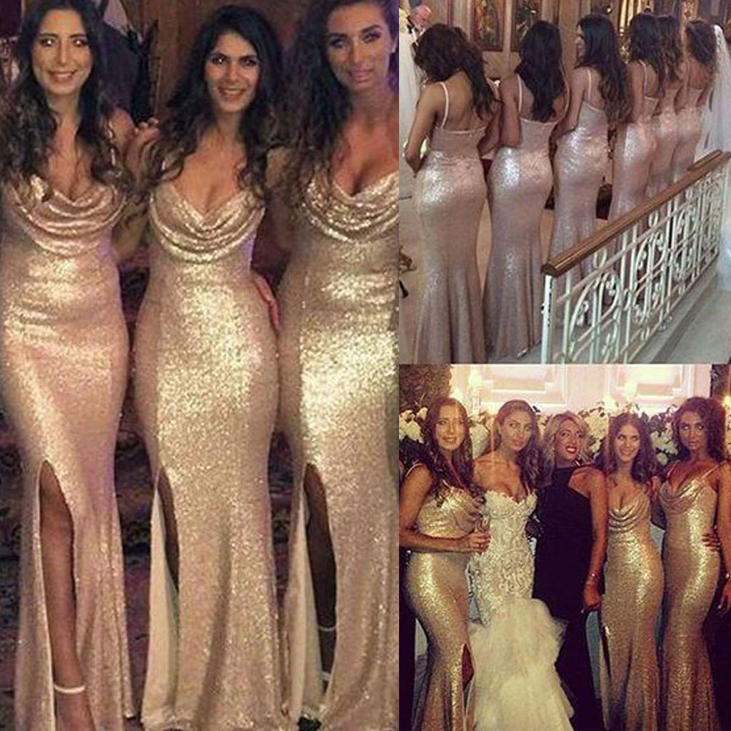 71bc0c7e2c Sexy Gold Sequin Mermaid Prom Dress, Side Split Sparkly Cheap Long Wedding  Party Dresses