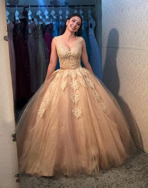 Gold Prom Dresses,Tulle Prom Gown,Long Prom