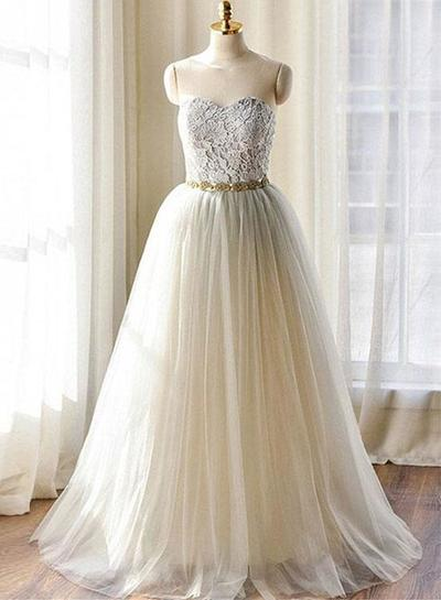 Gray lace sweetheart neck long senior prom dress, lace evening dress