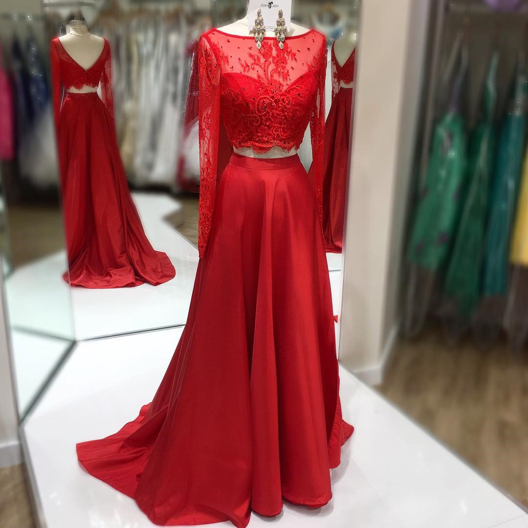 Two Pieces Prom Dress,Red Evening Dress,Long Sleeves Red Party Dress,Two Pieces Red Senior Prom Dress