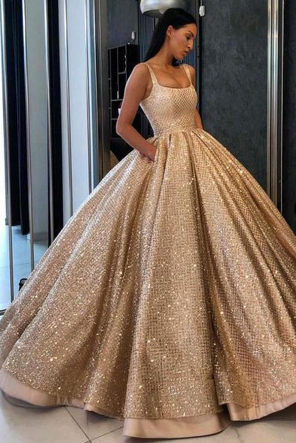 Ball Gown Prom Dress With Pockets Beads Sequins