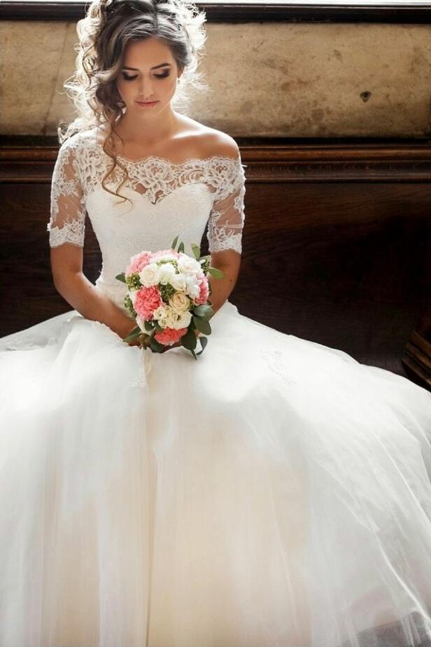 Wedding Dress With Sleeves.Illusion Off The Shoulder Princess Wedding Dress With Sleeves