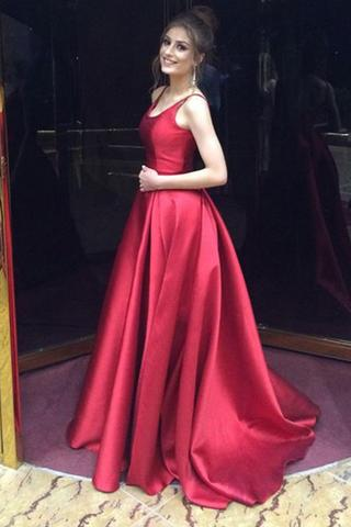 56e9db6cc7e1 Red A-Line Party Dress Long Prom Dress,Simple Satin Evening Dress on ...