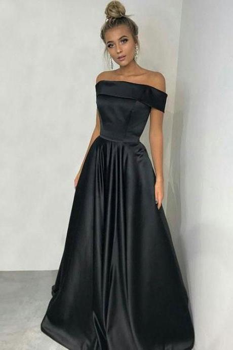 Princess party dress Off the Shoulder prom dress Black evening dress Satin party dress Long Simple Prom Dresses
