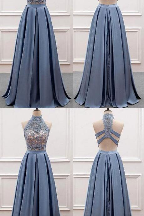 Cheap prom dress two pieces party dress high neck evening dress lace top long prom dress,Custom Made, Party Dress,Cheap Prom Dress
