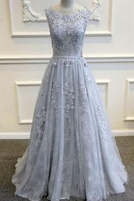 Straps prom dress A Line party dress Lace Long Prom Dress Silver Ball Gown,Custom Made, Party Dress,Cheap Prom Dress