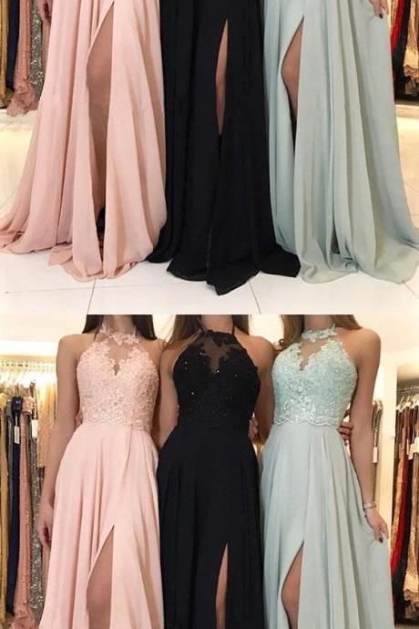 Charming prom dress Lace Halter evening dress Chiffon party dress Split Evening Gowns lace Formal Prom Dresses,spaghetti prom dress