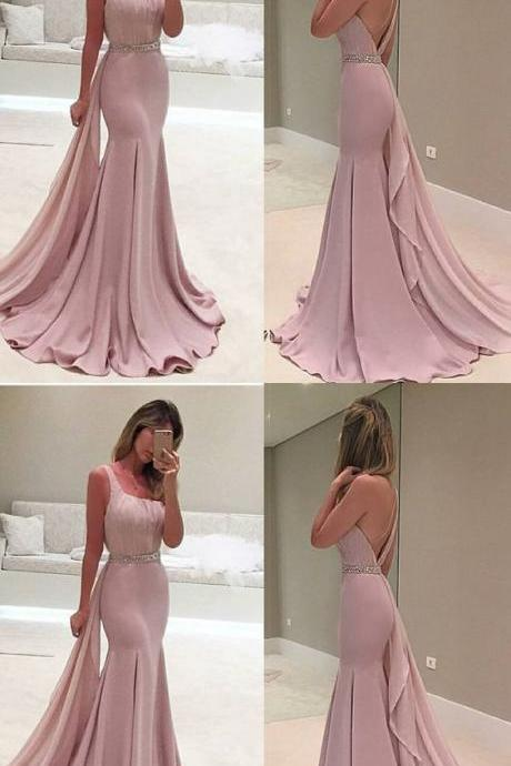Mermaid prom dress One-Shoulder evening dress Sweep Train Prom Dress with Beading,Custom Made, Party Gown,Cheap Prom Dress
