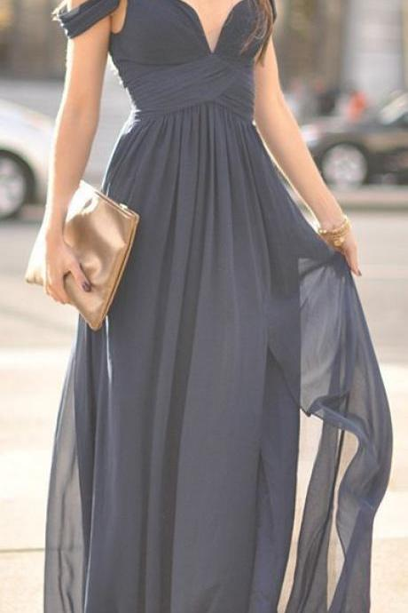 Blue Off-The-Shoulder Long Tulle Overskirt Bridesmaid Dress