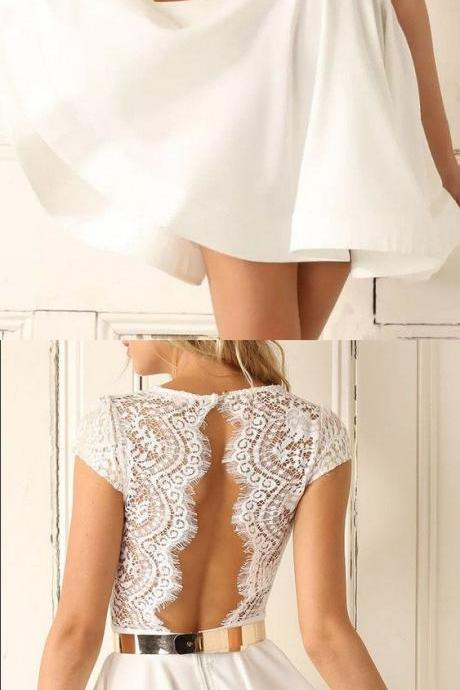 Cheap Short Prom Homecoming Dress Colorful White Homecoming Dresses With V-Neck Open-back Belt/Sash/Ribbon Dresses