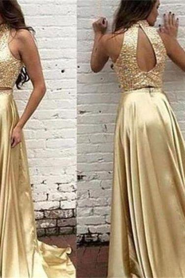 Two Pieces Prom Dresses,Gold Prom Dress,Off-shoulder Prom Dresses,Cheap Prom Dress,Sparkle Prom Dresses