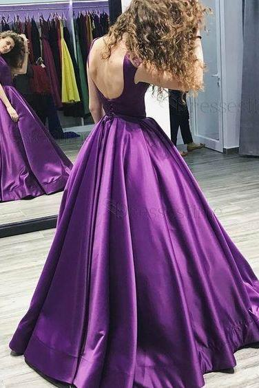 A-Line Round Neck Floor-Length Pleated Grape Satin Evening Dress
