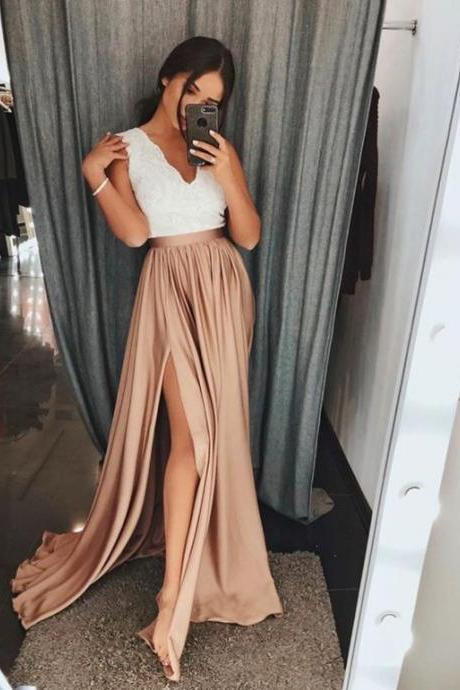 A-Line V-Neck Brown Elastic Satin Prom Dress with Split Lace