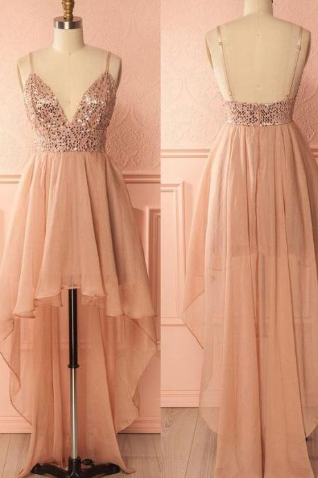 Outlet Spaghetti Strap Prom Homecoming Dress Short Pink Prom Dresses With Backless Sequin Soft Dresses