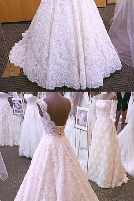 Vintage Cap Sleeves Open Back Lace Wedding Dresses 2018