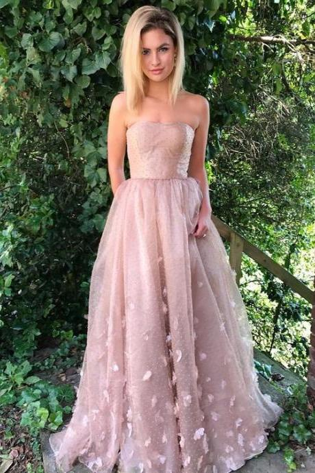 A-Line Strapless Blush Lace Evening Prom Dress with Appliques