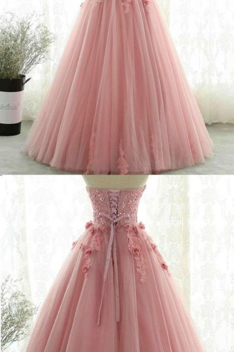 Beaded pink party dress tulle long sweet prom dress