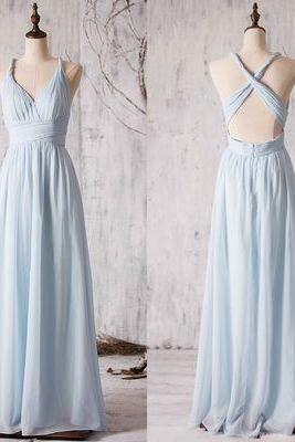 V-neck Chiffon Bridesmaid Dress with Crisscross Back, Floor-length Bridesmaid Dress with Ruching Detail, Sexy Bridesmaid Gowns