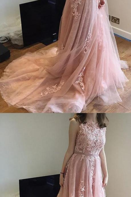 Beautiful Prom Dresses, Lace Prom Dresses, Sleeveless Evening Dresses