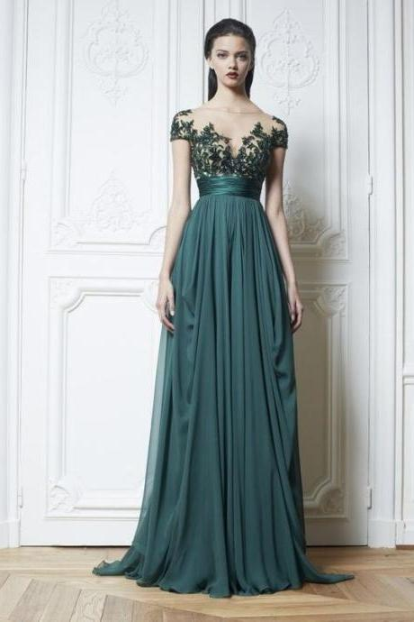 Vintage Style Evening Dresses sleeveless Evening Dresses green party dress chiffon prom dress
