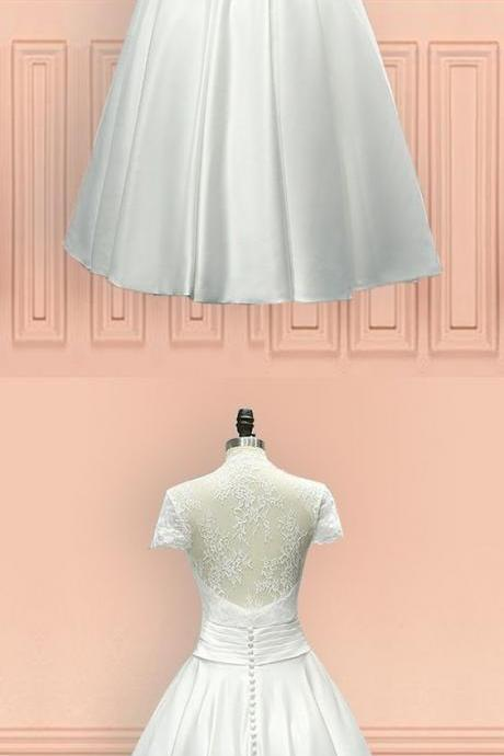 Short Wedding Dresses Vintage Tea Length Wedding Dress Sheer Back With Cap Sleeves